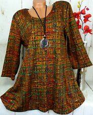 New Jersey Tunika Bluse Kleid Top Shirt Pullover Lagenlook A-Linie Bunt 2) 46 48