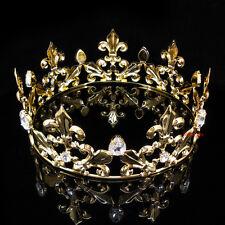 Men's Imperial Medieval Fleur De Lis Gold King Crown 7cm High 18cm Diameter
