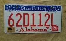 2009 Alabama Stars Fell On Alabama  Automobile License Plate Car Tag 62D112L