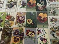 LOT of 25 ~PANSY~Flowers Floral~Antique~Greetings Postcards-In Sleeves-a875