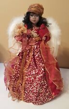 """African American Angel Christmas Tree Topper Red Gold 17"""" Table Top Black NEW"""
