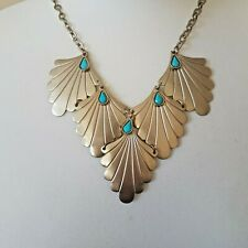 Statement Silver Tone Fan Bib Necklace on a Chunky Chain By Accessorize