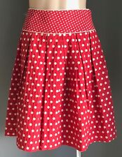 Stunning REVIEW Red & White Polka Dot Pleated Lined Skirt Size 8 - Pinup Vibe!