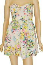 ALLY SZ 10 WOMENS White Floral Print Bustier Strapless Party Short Skater Dress
