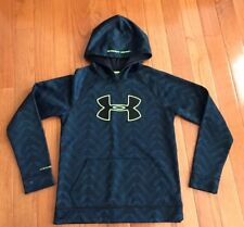 Under Armour Storm Boys Loose Fit Black Blue Hoodie Pullover YL Large