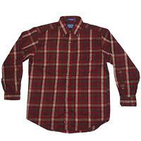 Vintage Sir Pendleton Long Sleeve Red Plaid Button Down Wool Shirt Size Medium
