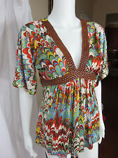 Sky Silk   Print w Braided Leather Neckline Kimono / Tunic / Top Size S