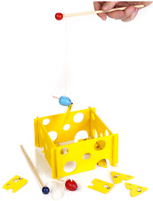 WOODEN MAGNETIC CHEESE & MOUSE GAME WITH 2 RODS school educational kids toy gift