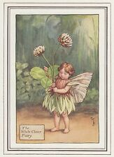 CICELY MARY BARKER c1930 THE WHITE CLOVER FAIRY Painting Vintage Art Book Print
