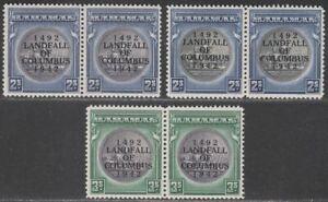 Bahamas 1942 KGVI Columbus Overprint Great Seal 2sh, 3sh Pairs Mint