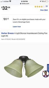 Harbor Breeze 4-Light Bronze Incandescent Ceiling Fan Light Kit