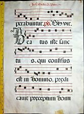 Huge deco.Antiphonary Manuscript Lf.Vellum,unusual B initial,c.1500 #96