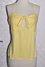 COREY LYNN CALTER CLC Light Yellow STRETCH RAYON JERSEY HALTER TOP New LARGE
