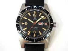 ELGIN Divers Day Date Matt Black Dial Automatic Vintage Men's Watch around 1960