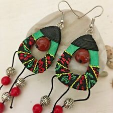 Earrings Dangle Statement Stranded Bead Chandelier Deco Black Red Green