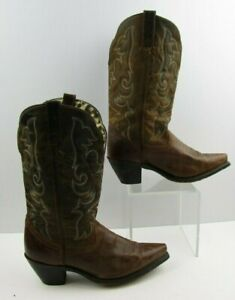Ladies Laredo Brown Leather Pointed Toe Western Cowgirl Boots Size: 10 M