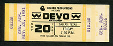 Original 1981 Devo unused full concert ticket Dallas Texas New Traditionalists