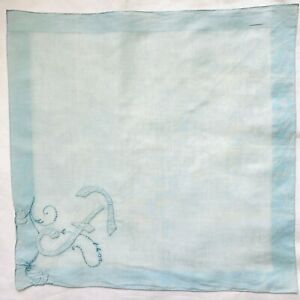 "Vintage Blue Handkerchief Hand Embroidered Initial F Floral Design 16"" Square"