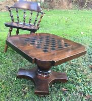 """Vintage Dark Wood Game Table 2' Square Checker Chess Board 18.5""""h"""
