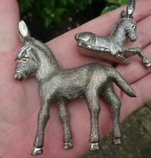 Vintage Silver tone metal Donkey ornament mum and baby well detailed