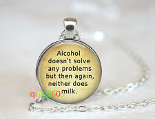 Alcoholic photo Glass Cabochon Tibet silver Chain Pendant Necklace wholesale