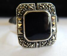 Vintage Marcasite Black Onyx Sterling Silver 925 Ring Size 7 FREE SHIPPING