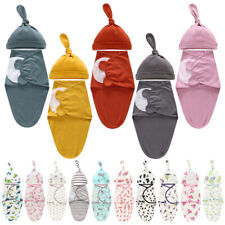 Newborn Baby Infant Swaddle Sleeping Bag Sack Muslin Wrap With Hat Set Photoprop