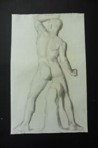 FRENCH SCHOOL 19thC - STUDY MALE NUDE - MONOGR. CHARCOAL DRAWING