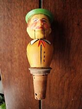 Vtg Anri ? Carved Wood Wine Stopper Mechanical mouth opens / head prods