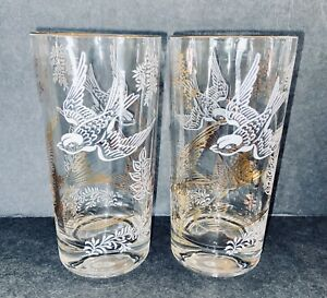 Vintage Barware Tumblers SET OF 2 Sparrow Birds Gold And White