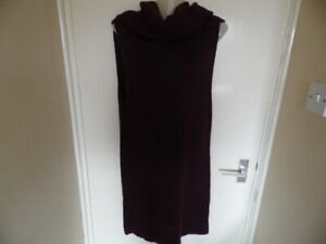 Ladies Claret Sleeveless, Cowl neck Chunky Long Jumper Size 14 euro 40