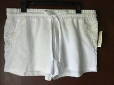 BOBBIE BROOKS White Cotton Blend Elastic Waist L Drawstring Crochet Shorts
