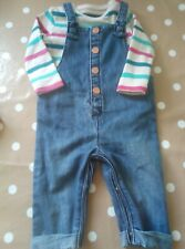 Baby Girls Top & Dungaree Set Age 0-3 Months