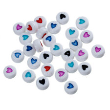 200 WHITE ACRYLIC ROUND HEART BEADS~7mm~Wine Glass Charms~Dummy Chains (93G) UK