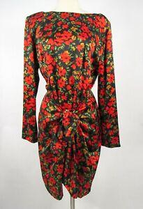 Vintage 90s Mary Jo Bruno 100% Silk Dress M Wrap & Tie Skirt Panels Black Red