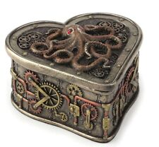 "4"" Steampunk Octopus Heartshaped Trinket Box Nautical Animal Jewelry Container"