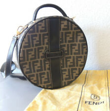 Vintage Authentic FENDI Zucca Round Traincase Crossbody Bag