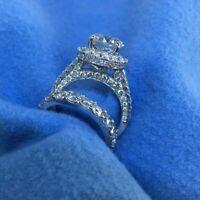 Eternity Band Halo Diamond Engagement Wedding Ring Set Solid 14k White Gold 4 Ct