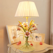 French Country Lily Flower Bedside Desk Table Lamp with Nice Decoration