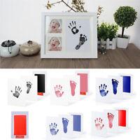 Baby Newborn Handprint Footprint Imprint Clean Touch Ink Pad Photo Frame Gift