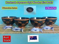 NEW Handmade Japanese Style Wooden Rice Bowls Dinner Set - 4 pcs/set (B149)