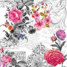 20 Lunch Paper Napkins ROYAL ROSE - SHABBY CHIC DECOUPAGE VINTAGE FLOWER 33x33cm