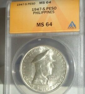 1947-S 1P PHILIPPINES One Peso Silver Coin ANACS MS 64 General Douglas MacArthur