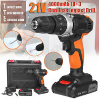 21V 30Nm Cordless Electric Hammer Impact Drill Power Driver 4000mAh 2xLi-Battery