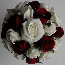 Brides Bridesmaids Crystal Diamante Wedding Red Silk Rose Ivory Flower Bouquet