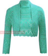 T24 NEW WOMENS KNITTED CROCHET METALIC LUREX LONG SLEEVE PLUS SIZE BOLERO SHRUG