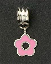 Dangle Flower European Charm Beads Pink Enamel For Bracelet & Necklace Chain