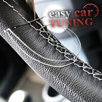 For Citroen Berlingo II 2008+ black real leather steering wheel cover grey st