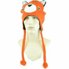 Fox Orange Animal Applique Laplander Peruvian Knit Beanie Ear Flap Tassels Toque