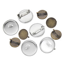 50x Cabochon Brooch Base Setting Metal Blank Round Pin Tray DIY Jewelry Findings